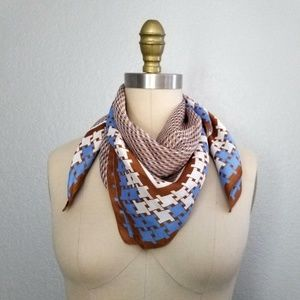 Vintage plaid houndstooth silk scarf